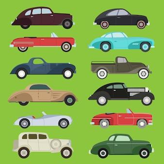 Oude vintage retro vector oude stijl auto voertuig auto exclusieve sport vervoer antieke garage klassieke auto snelheid race illustratie machine motor model auto raceauto