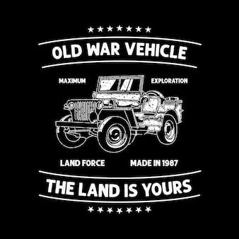 Oude voertuig evenement t-shirt club sjabloon