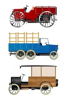 Oude vrachtwagens ingesteld
