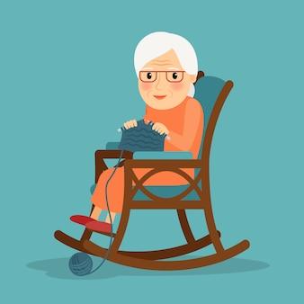 Oude vrouw breien