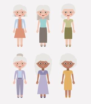 Oude vrouw cartoon icoon
