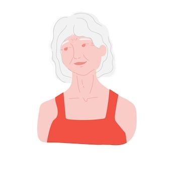 Oude vrouw de bejaarde vrouw is een gepensioneerde een actieve grootmoeder een vrouw met grijs haar b