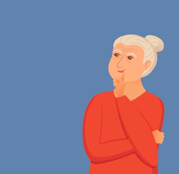 Oude vrouw die met vraagtekens denkt