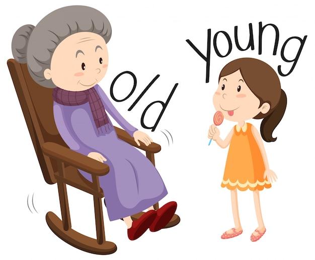 Oude vrouw en jong meisje