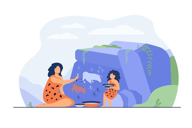 Oude vrouw en kind schilderen op stenen muur geïsoleerde platte vectorillustratie. cartoon prehistorische mensen tekenen primitieve dieren en jagers. rock art design en familieconcept