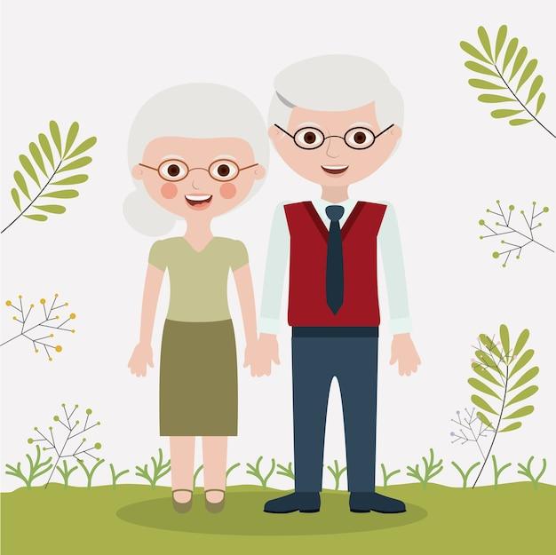 Oude vrouw en man cartoon icoon