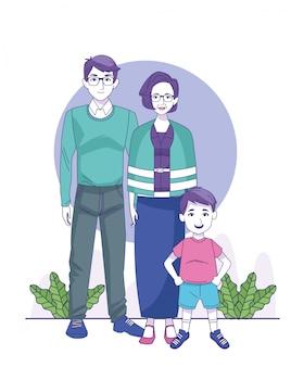 Oude vrouw en man met kleine jongen