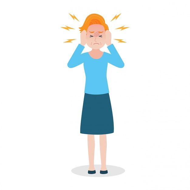 Oude vrouw heeft hoofdpijn heatstroke medical heath care concept.