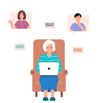 Oude vrouw is aan het chatten online communicatieconcept