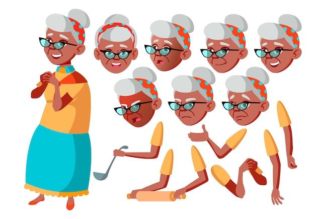 Oude vrouw karakter. afrikaanse. creatie constructor voor animatie. gezichtsemoties, handen.