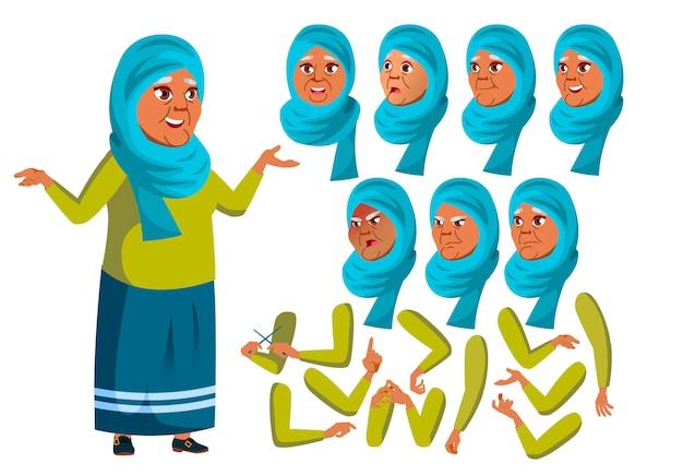 Oude vrouw karakter. arab. creatie constructor voor animatie. gezichtsemoties, handen.