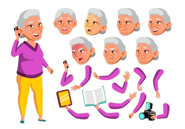 Oude vrouw karakter. aziatische. creatie constructor voor animatie. gezichtsemoties, handen.