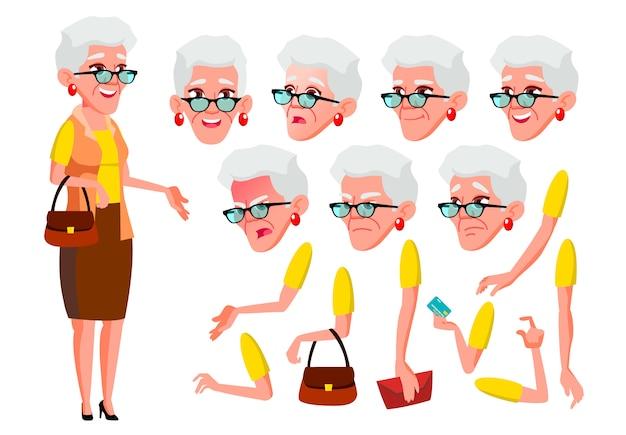 Oude vrouw karakter. europese. creatie constructor voor animatie. gezichtsemoties, handen.