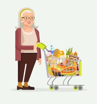 Oude vrouw karakter met voedsel winkelwagen