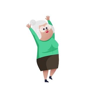 Oude vrouw met handen omhoog karakter.