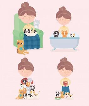Oude vrouw met katten baden voederen slaap ontspanning in fauteuil illustratie