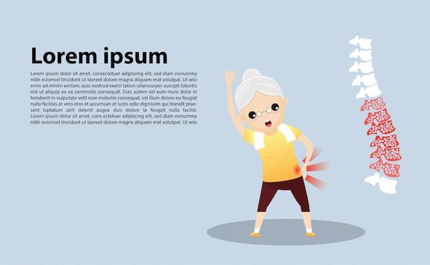 Oude vrouw met osteoporose sjabloon