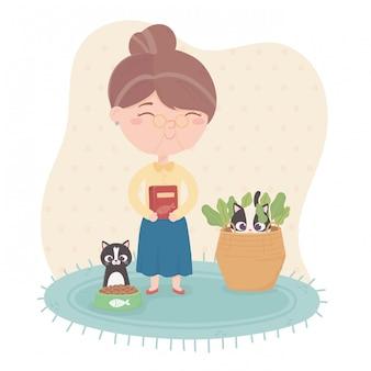 Oude vrouw met voedsel voor mascottes katten illustratie