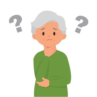 Oude vrouw met vraagtekens omdat ze gemakkelijk te vergeten zijn