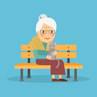 Oude vrouw op bank