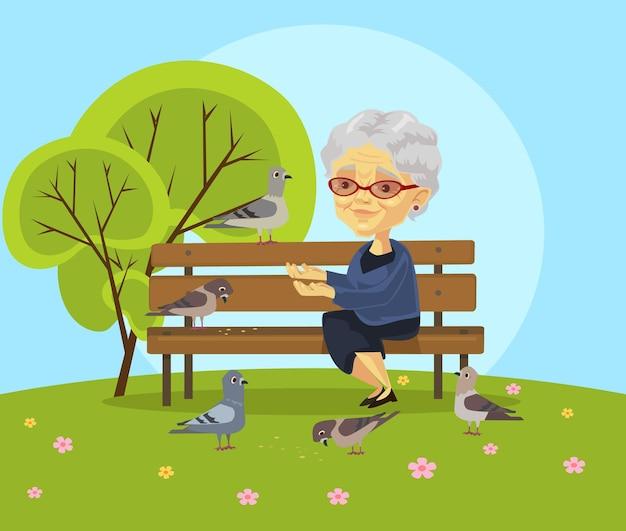 Oude vrouw voederen vogels vlakke afbeelding