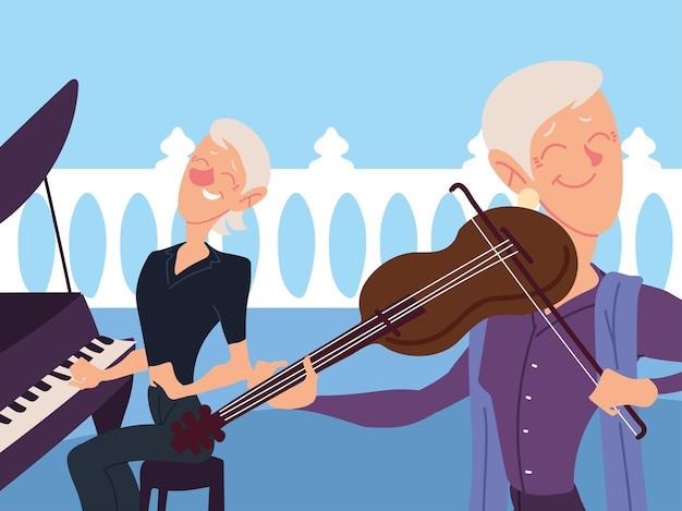 Oude vrouwen die muziekinstrumenten spelen, actief senior ontwerp