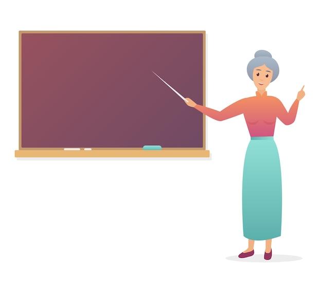 Oude vrouwenleraar dichtbij bord. trendy kleurovergang van grootmoeder leraar geïsoleerd.
