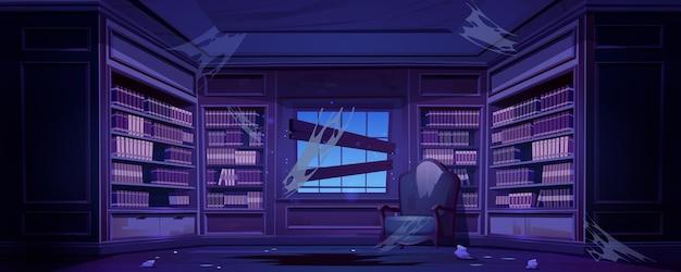 Oude vuile bibliotheek met boekenkasten 's nachts