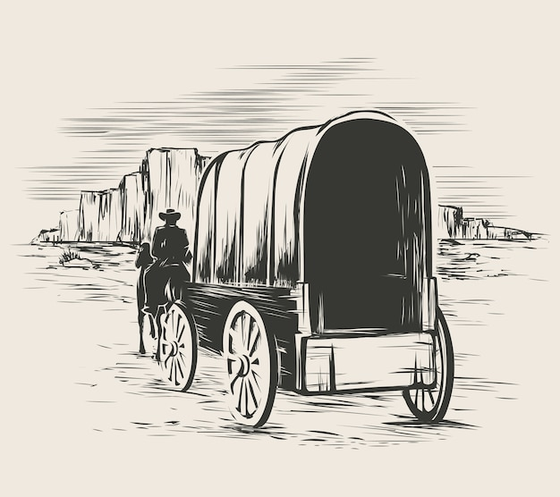 Oude wagen in de prairies van het wilde westen. pionier op paardentransportwagen