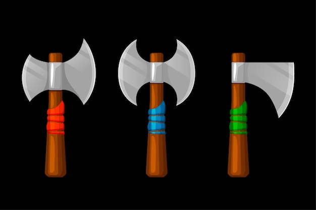Oude wapens, viking-strijdbijlen voor game-assets