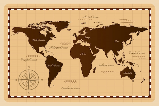 Oude wereldkaart. illustratie.