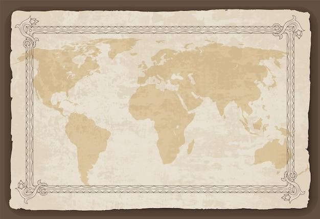 Oude wereldkaart met frame