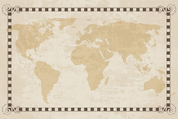 Oude wereldkaart. papier textuur met grenskader. vintage vautisch kompas. retro ontwerpbanner. decoratieve antieke museumfoto met rand.