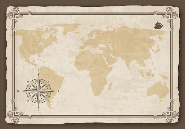 Oude wereldkaart. papier textuur met grenskader. wind roos.