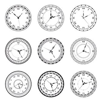 Oude wijzerplaat. vintage antieke horloges, antiek uur ronde klok, romeinse cijfers timer klok illustratie symbolen set. tijdwachtmuur met romeinse cijfers