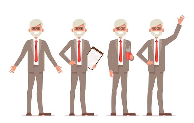 Oude zakenman character pack.