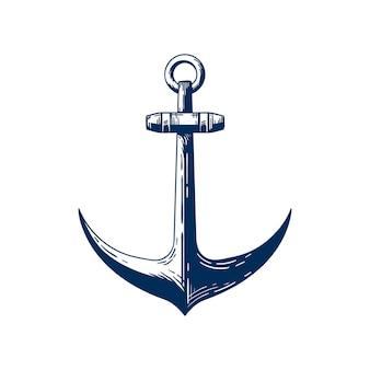 Oude zee anker hand getekende vectorillustratie. traditioneel schip aanmeren apparaat, nautische vaartuig accessoire geïsoleerd op een witte achtergrond. vintage zeemanstattoo-idee. jachtclub logo ontwerpelement.