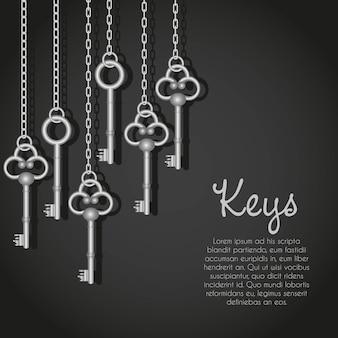 Oude zilveren sleutels opknoping string