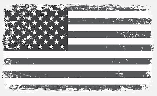 Oude zwart-wit amerikaanse vlag