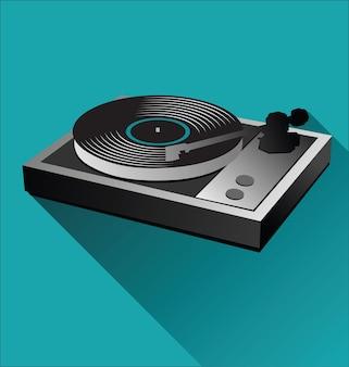 Oude zwarte vinylplaat en draaitafel
