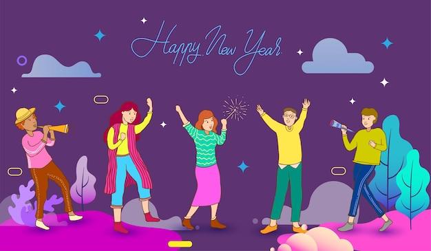 Oudejaarsavond viering. gelukkig nieuwjaar, illustratie van jonge mensen die plezier hebben en het nieuwe jaar vieren. kleurrijke vectorillustratie in platte cartoon stijl.
