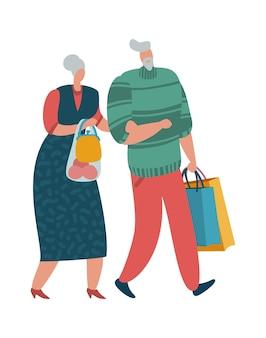 Ouder echtpaar. oude man en vrouw lopen samen met tassen, platte vector shopper karakters