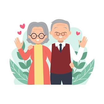 Ouder echtpaar voelt zich gelukkig en knuffelt elkaar gelukkige internationale grootoudersdag platte vectorontwerp