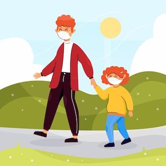Ouder en kind dragen maskers bij daglicht