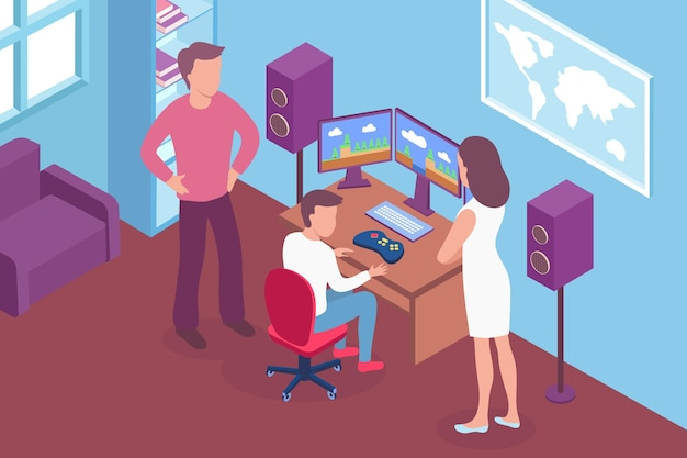 Ouder in gesprek met tiener over illustratie van gameverslaving