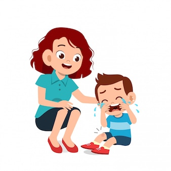 Ouder met kind kind huilen