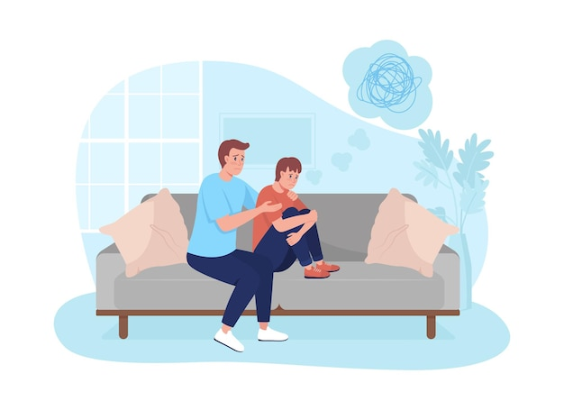 Ouder ondersteuning tiener zoon 2d vector geïsoleerde illustratie