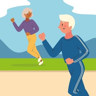 Ouder paar rennen