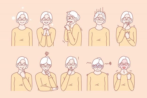 Ouderdom dames emoties en gezichtsuitdrukkingen