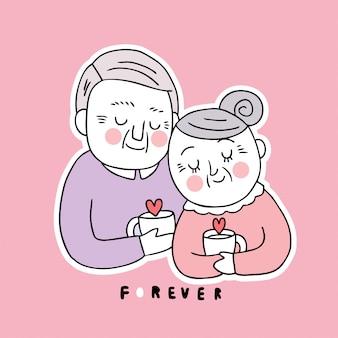 Oudere de dagminnaar van beeldverhaal leuke valentijnskaarten drinkt samen koffie vector.